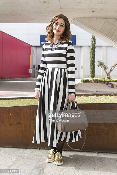 Sara Abad wears Zara shoes Shein dress Adolfo Dominguez handbag and Parfois Jewelry during Mercedes Benz Fashion Week at Ifema on February 19 2016 in...