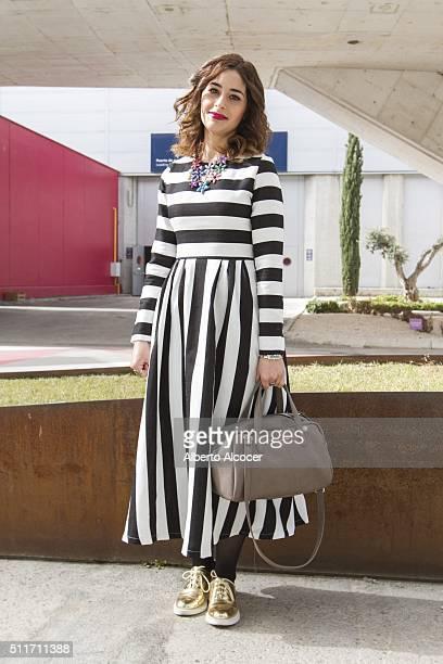 Sara Abad wears Zara shoes Shein dress Adolfo Dominguez handbag and Parfois Jewelry during Mercedes Benz Fashion Week at Ifema on February 19 2016 in...