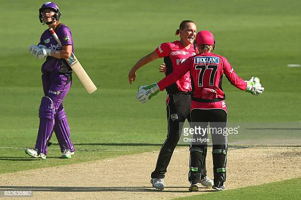 Sara Aley of the Sixers celebrates dismissing Julie Hunter of the Hurricanes to win the Women's Big Bash League semi final match between the Sydney...