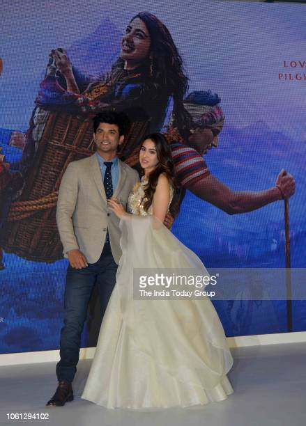 Sara Ali Khan and Sushant Singh Rajput during the trailer launch of their movie Kedarnath in Mumbai