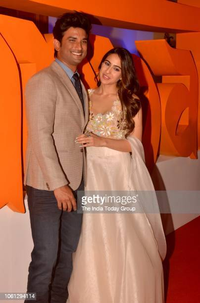 Sara Ali Khan and Sushant Singh Rajput during the trailer launch of their movie Kedarnath in Mumbai