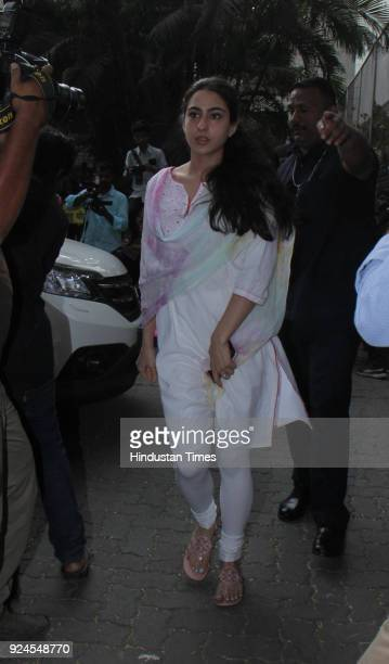 Sara Ali Khan visits Anil Kapoor residence at Juhu to offer condolences to the family after the demise of Bollywood actor Sridevi on February 26 2018...