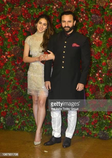 Sara Ali Khan with father Saif Ali Khan at Ranveer Singh and Deepika Padukones reception in Mumbai