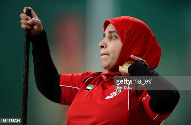 Sara Alqubaisi of UAE competes in Shot Put Wheelchair Women final during the 9th Fazza International IPC Athletics Grand Prix Competition World Para...