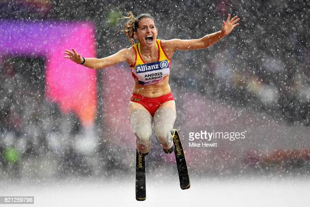 Sara Andres Barrio of Spain celebrates after winning bronze in the Womens 200m T44 final during day ten of the IPC World ParaAthletics Championships...