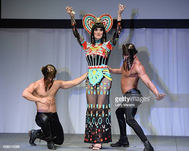 Sara Andrews performs during the Kit Kat Divas Live Preview at Fillmore Miami Beach on October 29 2014 in Miami Beach Florida