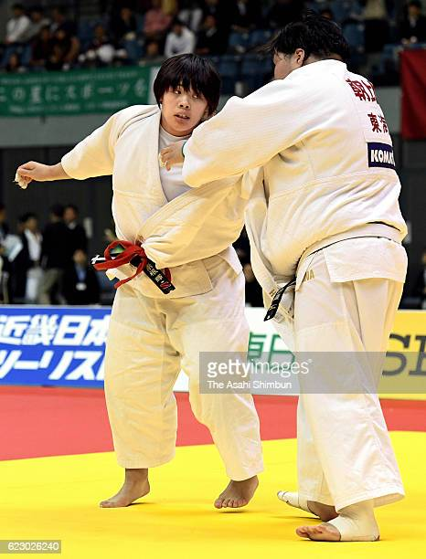 Sara Asahina and Akira Sone compete in the Women's 78kg final during day one of the Kodokan Cup All Japan Judo Championships by Weight Category at...