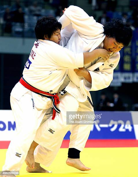Sara Asahina and Nami Inamori compete in the Women's 78kg final during day one of the Kodokan Cup All Japan Judo Championships by Weight Category at...