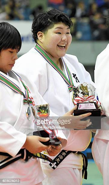 Sara Asahina celebrates winning the Women's 78kg during day one of the Kodokan Cup All Japan Judo Championships by Weight Category at Chiba Port...