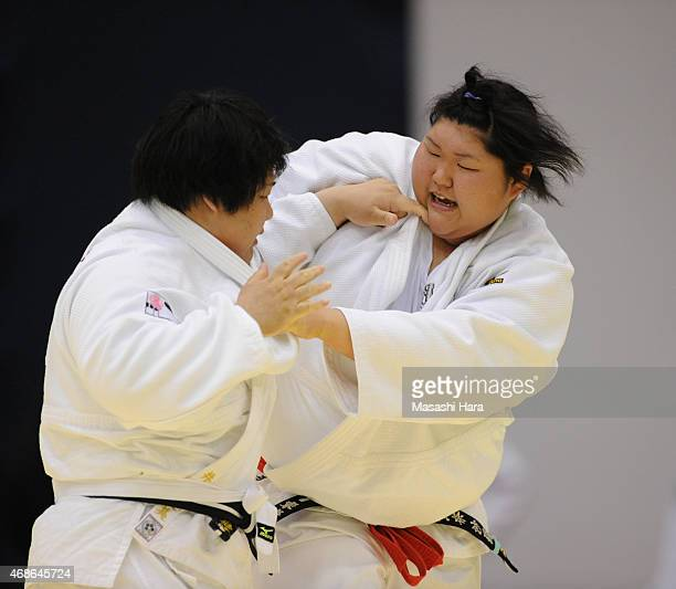 Sara Asahina in action during the day two of the All Japan Judo Championships by Weight Category 2015 at Fukuoka Kokusai Center on April 5 2015 in...