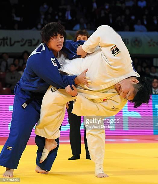 Sara Asahina of Japan and Akira Sone of Japan compete in the Women's 78kg final during day three of the Judo Grand Slam at Tokyo Metropolitan...