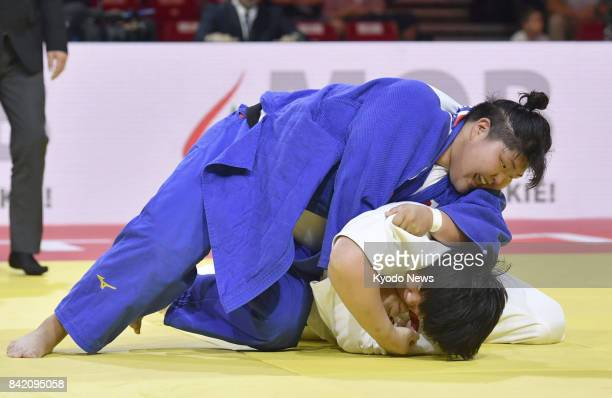 Sara Asahina of Japan and Yu Song of China compete in the women's over78kilogram final at the judo world championships in Budapest on Sept 2 2017...