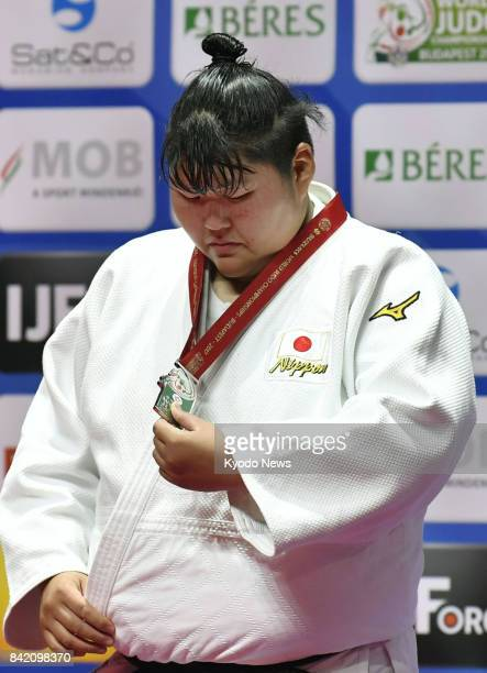 Sara Asahina of Japan looks downcast after losing to Yu Song of China in the women's over78kilogram final at the judo world championships in Budapest...