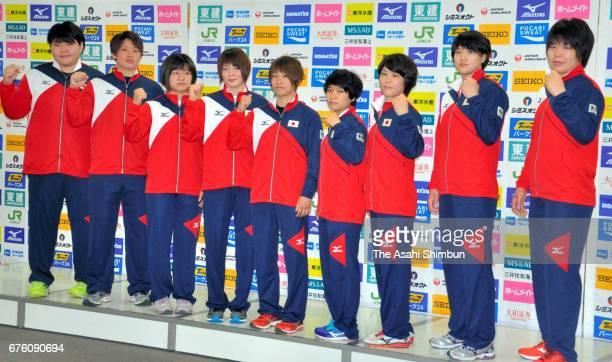 Sara Asahina Ruika Sato Tsukasa Yoshida Natsumi Tsunoda Ai Kondo Funa Tonaki Ai Shishime Chizuru Arai and Mami Umeki pose for photographs at a press...