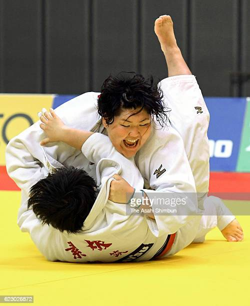 Sara Asahina throws Akira Sone while competing in the Women's 78kg final during day one of the Kodokan Cup All Japan Judo Championships by Weight...
