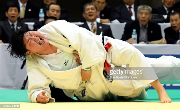 Sara Asahina throws Megumi Tachimoto to get a Yuko point in the final during the 32nd Empress Cup All Japan Women's Judo Championship at Yokohama...