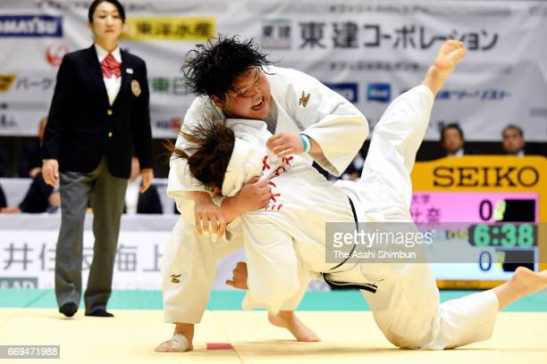 Sara Asahina throws Sara Yamamoto in the quarter final during the 32nd Empress Cup All Japan Women's Judo Championship at Yokohama Cultural Gymnasium...