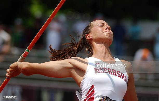 Sara Baker of Nebraska had a best effort of 126-1 in the heptathlon javelin for 637 points in the USA Track & Field Championships at IUPUI's Michael...