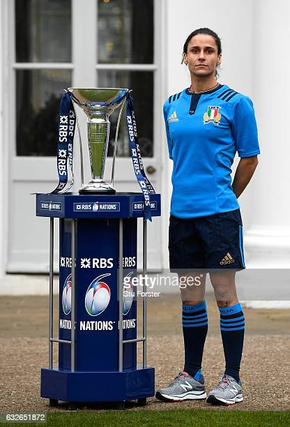 Sara Barattin Captain of Italy Women poses with The Six Nations Trophy during the 2017 RBS Six Nations launch at The Hurlingham Club on January 25...