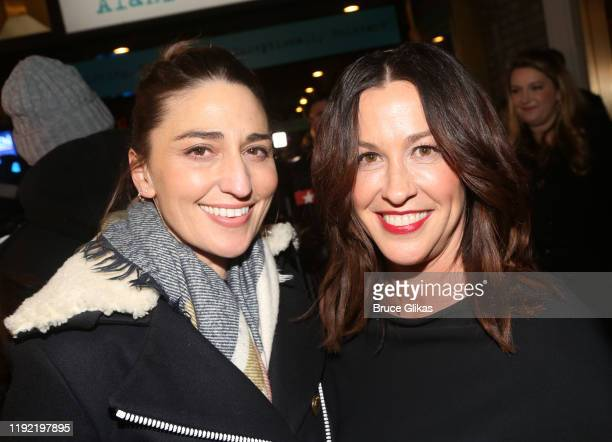 Sara Bareilles and Alanis Morissette pose at the opening night of the new Alanis Morissette musical Jagged Little Pill on Broadway at The Broadhurst...
