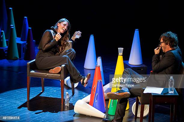 Sara Bareilles and Ben Folds speak during 'Sara Bareilles New York Performance And QA' at Brooklyn Academy of Music on October 6 2015 in New York City