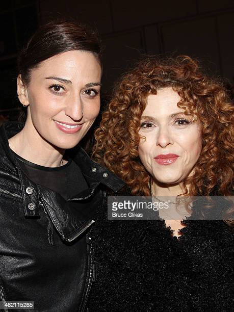 Sara Bareilles and Bernadette Peters attend the opening night of 'Beautiful The Carole King Musical' on Broadway at The Stephen Sondheim Theatre on...