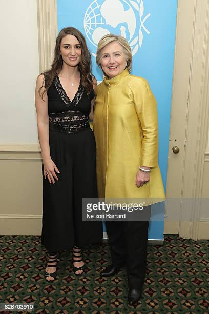 Sara Bareilles and Hillary Clinton attend the 12th annual UNICEF Snowflake Ball at Cipriani Wall Street on November 29 2016 in New York City