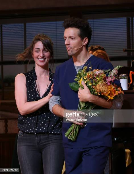 Sara Bareilles and Jason Mraz take a bow at the curtain call of Broadway's 'Waitress' at The Brooks Atkinson Theatre on November 3 2017 in New York...