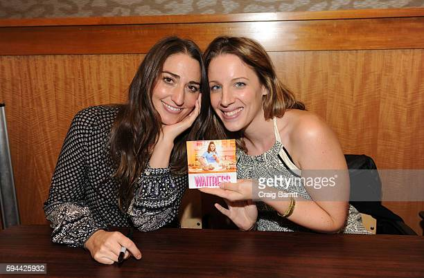 Sara Bareilles and Jessie Mueller attend a live performance from the cast of Broadway's Waitress at Barnes Noble 86th Lexington on August 23 2016 in...