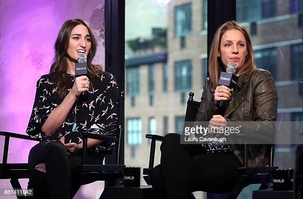 Sara Bareilles and Jessie Mueller attend Build Presents to discuss Waitress at AOL HQ on January 10 2017 in New York City