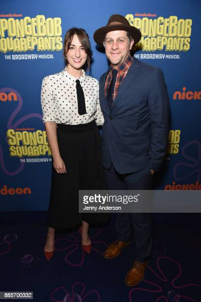 Sara Bareilles and Joe Tippett attend Opening Night of Nickelodeon's SpongeBob SquarePants The Broadway Musical at Palace Theatre on December 4 2017...