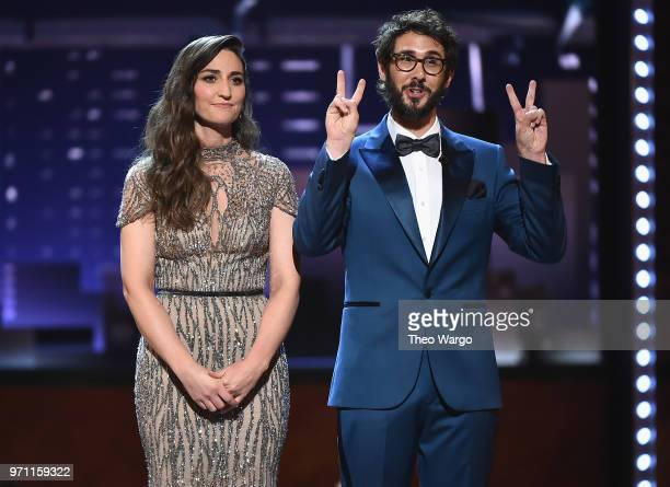 Sara Bareilles and Josh Groban host the 72nd Annual Tony Awards at Radio City Music Hall on June 10 2018 in New York City