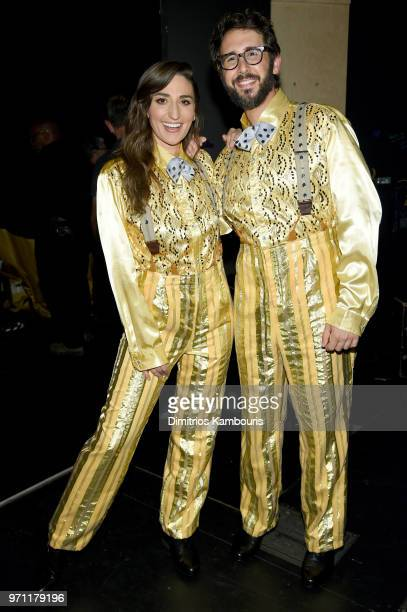 Sara Bareilles and Josh Groban pose backstage during the 72nd Annual Tony Awards at Radio City Music Hall on June 10 2018 in New York City