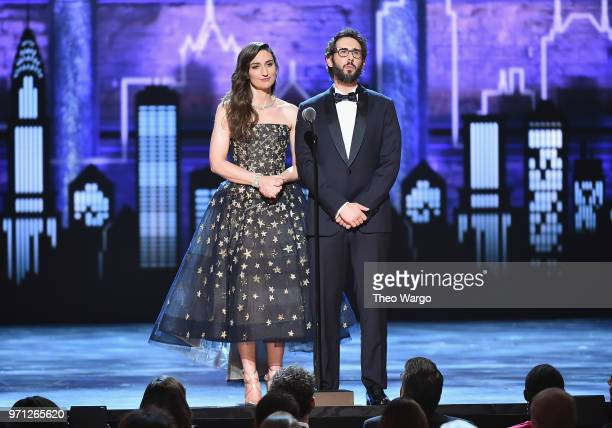 Sara Bareilles and Josh Groban speak onstage during the 72nd Annual Tony Awards at Radio City Music Hall on June 10 2018 in New York City