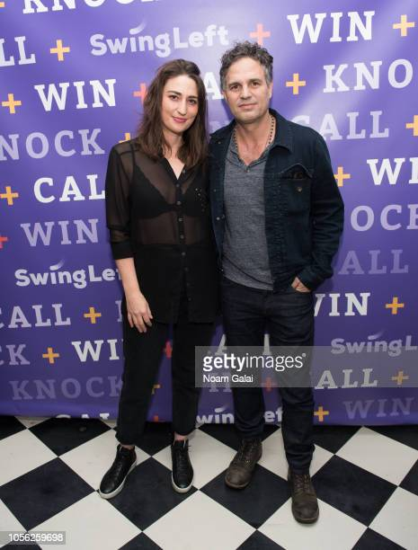 Sara Bareilles and Mark Ruffalo attend Swing Left's 'The Last Weekend' Election Rally at Cooper Union on November 1 2018 in New York City