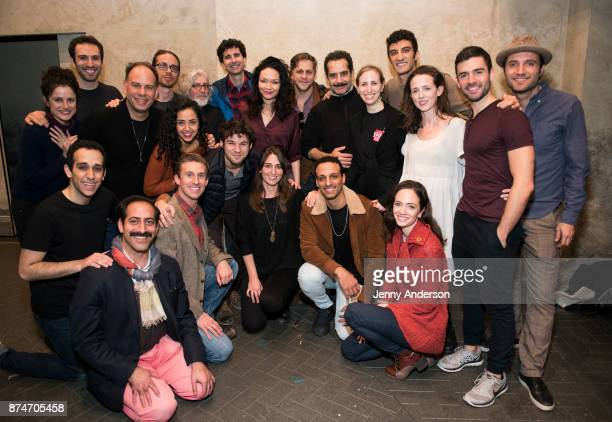 Sara Bareilles and The Band's Visit cast on stage at The Ethel Barrymore Theatre on November 15 2017 in New York City