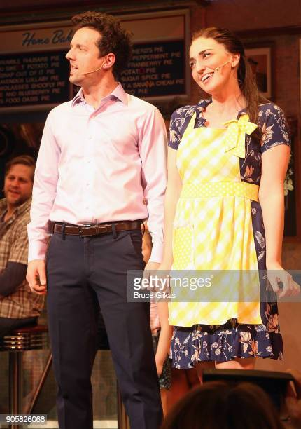 Sara Bareilles as 'Jenna' and Jason Mraz as 'Dr Pomatter' take their first costarring curtain call together in the hit musical 'Waitress' on Broadway...