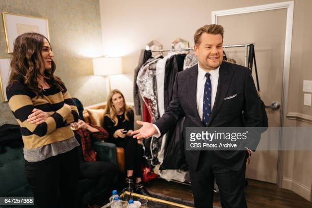 Sara Bareilles chats in the green room with James Corden during 'The Late Late Show with James Corden' Monday February 27 2017 On The CBS Television...