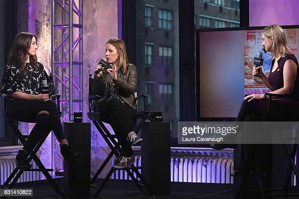 Sara Bareilles Jessie Mueller and Laura Heywood attend Build Presents to discuss Waitress at AOL HQ on January 10 2017 in New York City