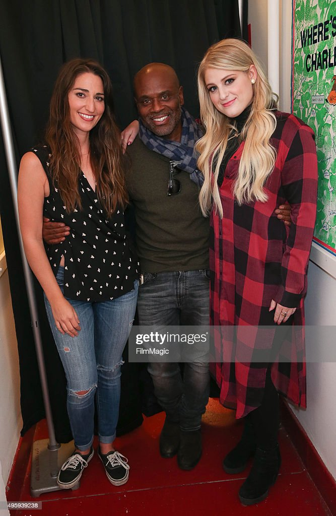 Sara Bareilles, L.A. Reid and Meghan Trainor appear backstage at the Sara Bareilles Album Release Concert on November 5, 2015 in New York City.