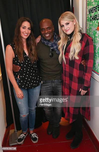 Sara Bareilles LA Reid and Meghan Trainor appear backstage at the Sara Bareilles Album Release Concert on November 5 2015 in New York City