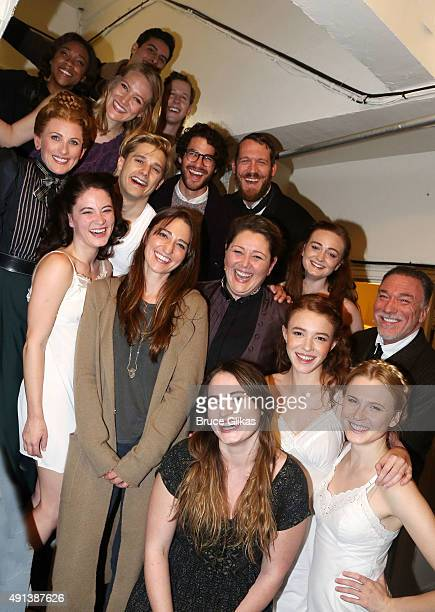 Sara Bareilles Marlee Matlinm Camryn Manheim and Darren Criss pose with the cast backstage at the musical Spring Awakening on Broadway at The Brooks...