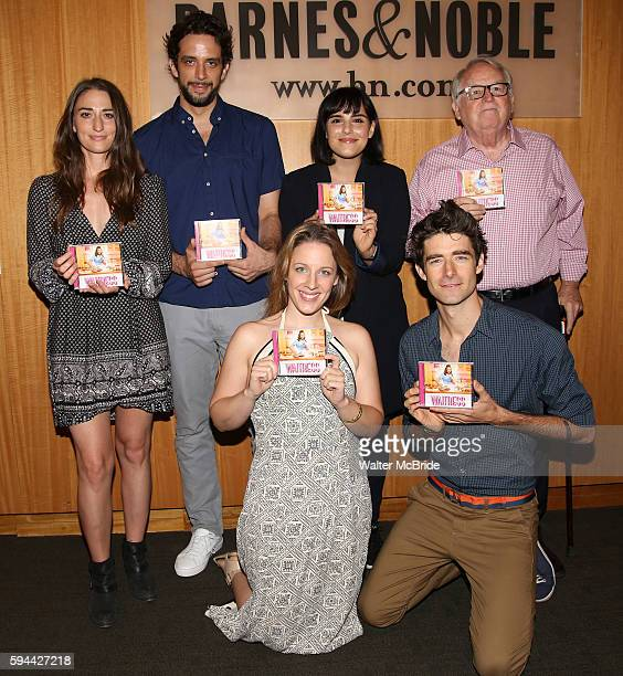 Sara Bareilles Nick Cordero Molly Hager Jessie Mueller Drew Gehling and Dakin Matthews attend the cast of Waitress CD Signing of the Original...