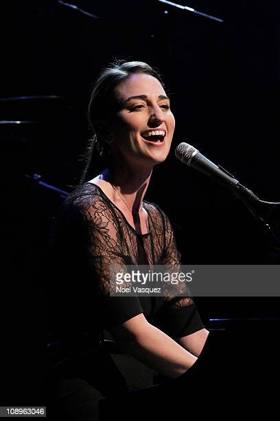 Sara Bareilles performs at the 2nd Annual GRAMMY In The Schools Live at USC Grand Ballroom on February 9 2011 in Los Angeles California