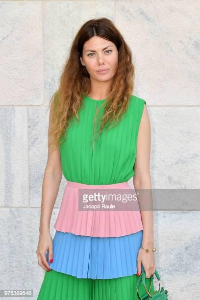 Sara Battaglia arrives at the Alberta Ferretti show during Milan Men's Fashion Week Spring/Summer 2019 on June 15 2018 in Milan Italy