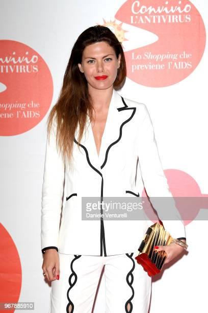 Sara Battaglia attends Convivio photocall on June 5 2018 in Milan Italy