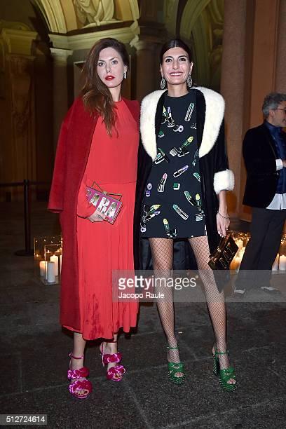 Sara Battaglia Giovanna Battaglia attend Vogue Cocktail Party honoring photographer Mario Testino on February 27 2016 in Milan Italy