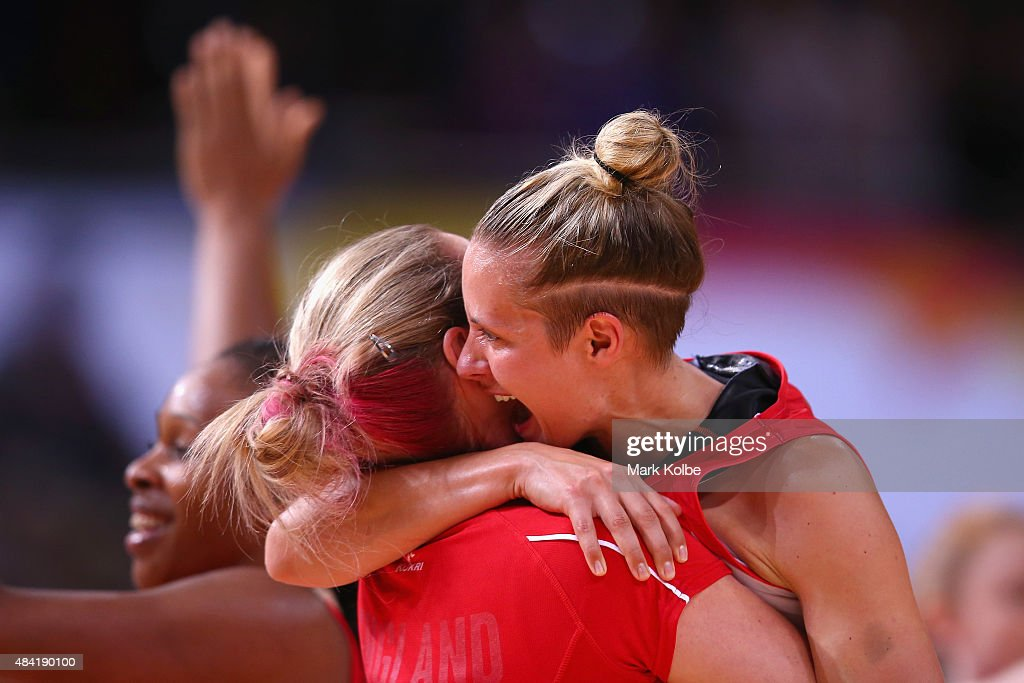 Sara Bayman and Tamsin Greenway of England celebrate victory during the 2015 Netball World Cup Bronze Medal match between England and Jamaica at Allphones Arena on August 16, 2015 in Sydney, Australia.