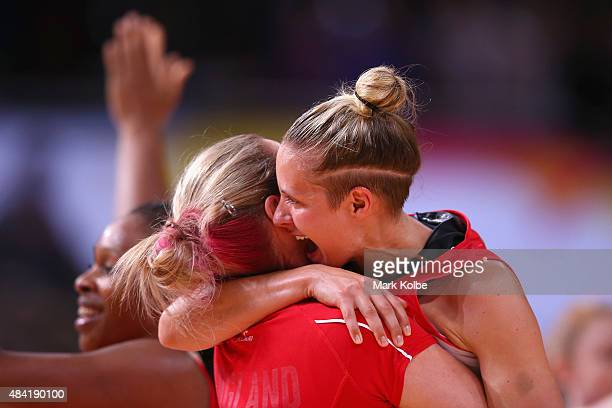Sara Bayman and Tamsin Greenway of England celebrate victory during the 2015 Netball World Cup Bronze Medal match between England and Jamaica at...