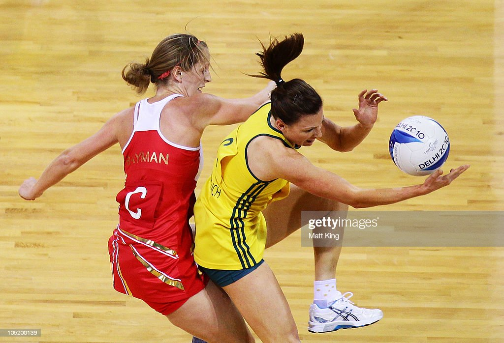 Sara Bayman of England and Natalie von Bertouch of Australia compete for the ball during the Women Semifinals Match between Australia and England at the Thyagaraj Sports Complex during day nine of the 2010 Commonwealth Games on October 12, 2010 in Delhi, India.